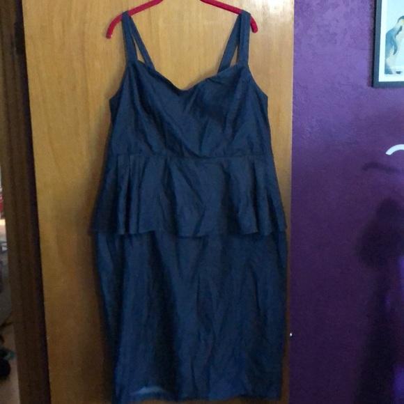 Eloquii Dresses & Skirts - Eloquii peplum denim-look dress with back bow